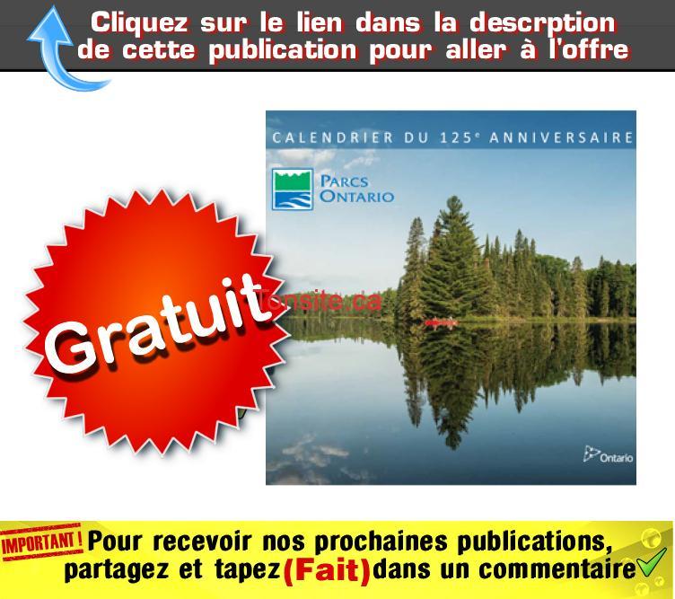 parcs ontario calendrier - GRATUIT: Obtenez un calendrier 2018 de Parcs Ontario GRATUITEMENT!