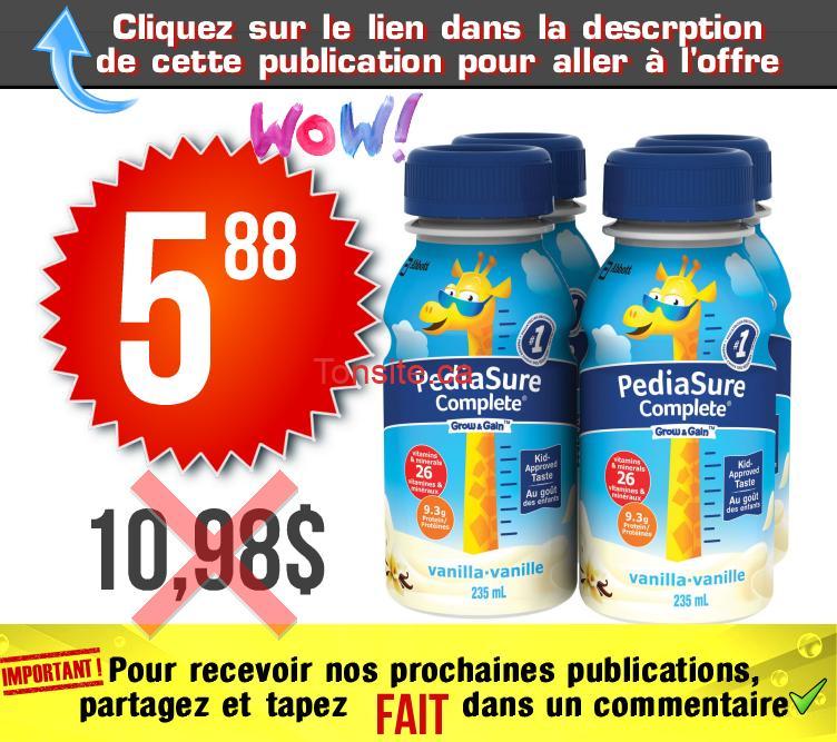 pediasure 588 1098 - Boisson nutritive pour enfants PediaSure Complete (4x235 mL) à 5,88$ au lieu de 10,98$