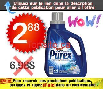 purex 288 698 - Détergent à lessive Purex (44 brassées) à 2,88$ au lieu de 6,98$