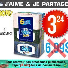 Emballage de 6 boîtes de papier mouchoirs Royale (3 épaisseurs) à 3,24$ au lieu de 6,99$