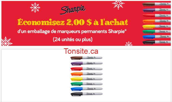 sharpie coupon2 - Coupon rabais de 2$ sur un emballage de marqueurs permanents Sharpie (24 unités ou plus)