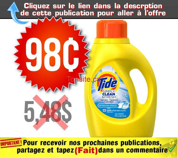 tide simply 98 548 - Détergent à lessive Tide Simply Clean à 98¢ au lieu de 5,48$