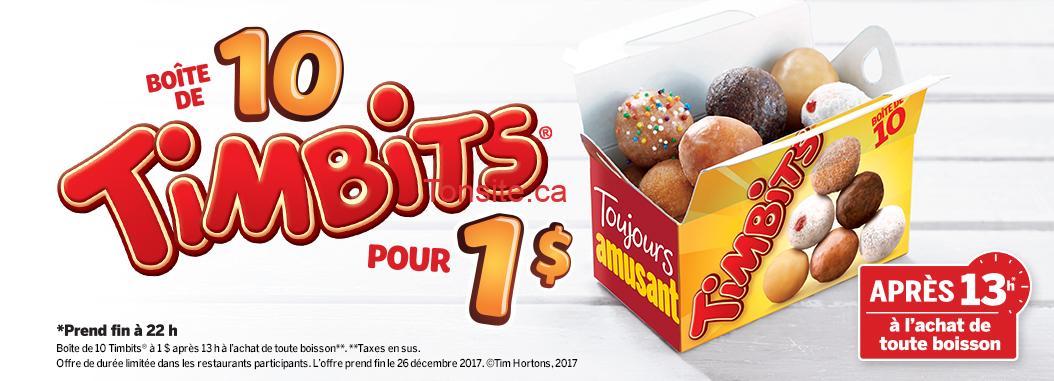 timbits 1 - Tim Hortons: Une boîte de 10 Timbits pour 1$ seulement!
