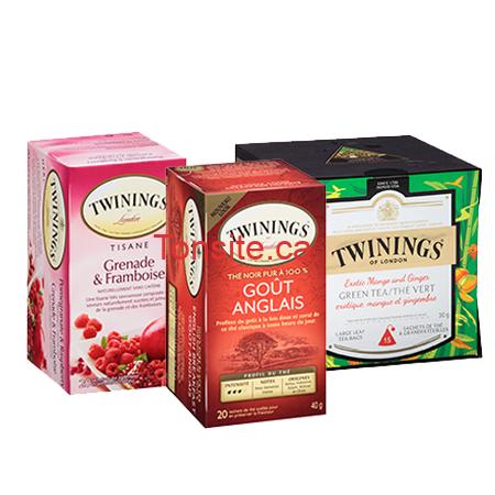 Coupon rabais de 75¢ sur n'importe quel thé Twinings noir, vert, tisane, chai ou Dosettes K-Cup