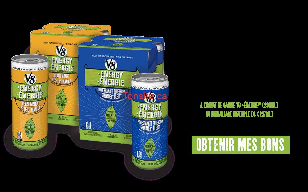 v8energie - Coupon rabais de 1$ à l'achat de canne V8 +Energie (237 mL) ou un emballage multiple (4x237 mL)