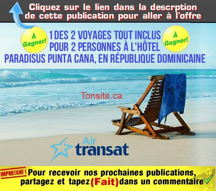 air transat concours3 - Concours Air Transat: Gagnez 1 des 2 voyages tout inclus pour 2 personnes à l'hôtel Paradisus Punta Cana, en République dominicaine