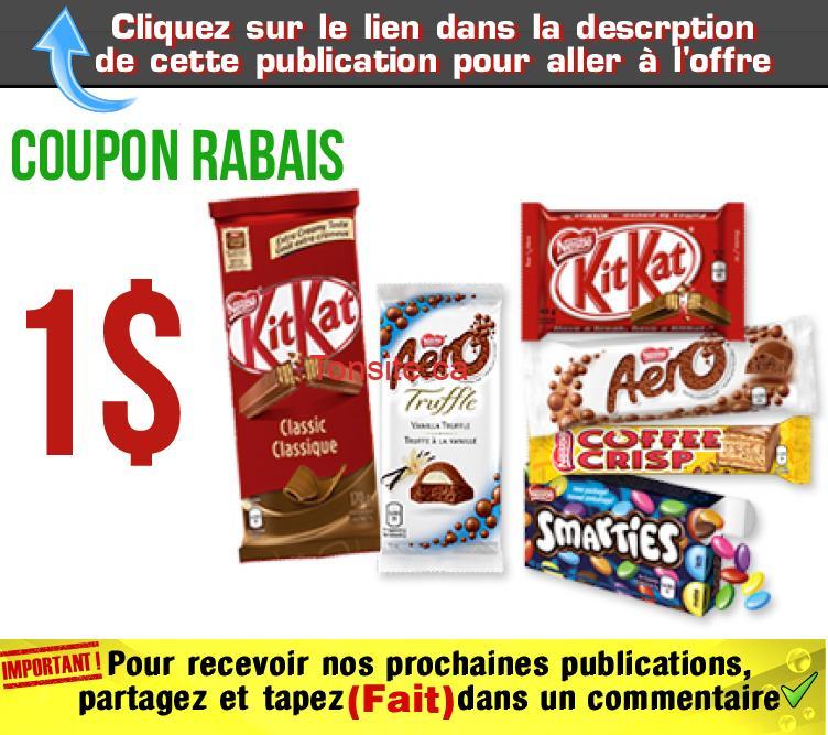 chocolat coupon jpg - Coupon rabais de 1$ valide à l'achat de 3 barres de chocolat Kit Kat, Aero, Coffee Crisp, Smarties au choix