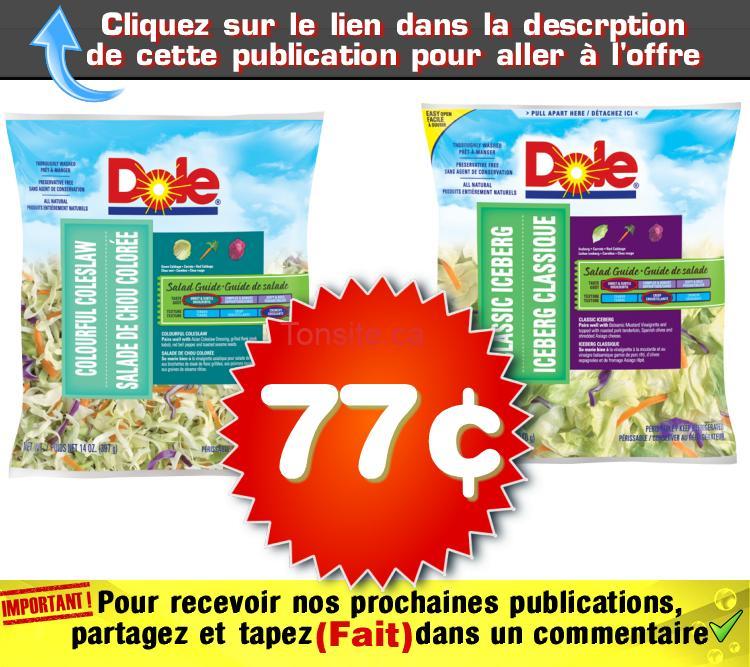 dole 77 - Iceberg clasique ou salade de chou coloré Dole à 77¢ au lieu de 1,99$