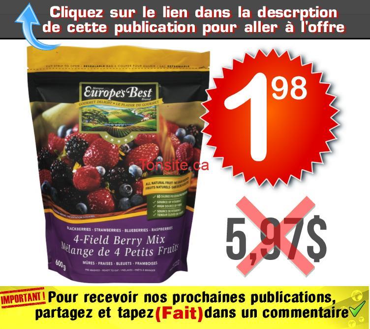 europe best 198 597 - Sac de fruits surgelés Europe's Best (600 g) à 1,98$ au lieu de 5,97$