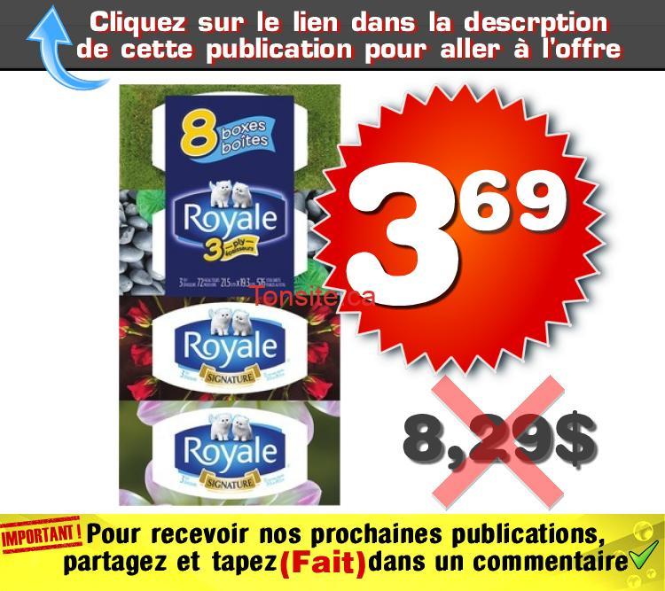 royale 8 369 829 - Emballage de 8 boîtes de papiers mouchoirs de 3 épaisseurs Royale à 3,69$ au lieu 8,29$
