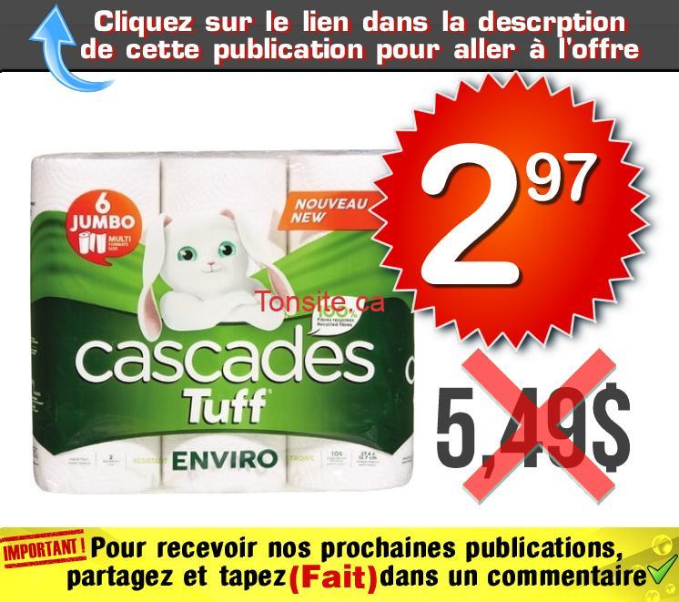 cascades essuie tout 297 549 - Emballage de 6 rouleaux Jumbo de papier essuie-tout Cascades Tuff à 2,97$ au lieu de 5,49$