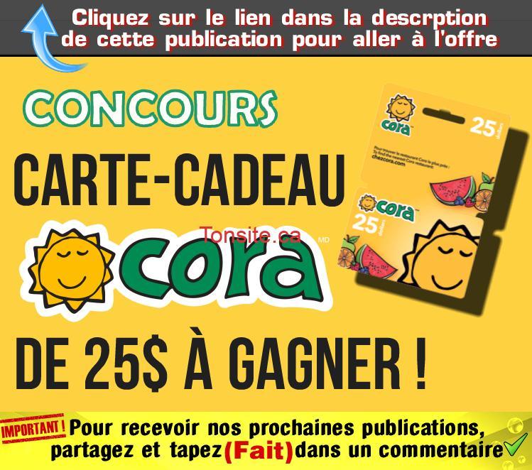 cora 25 concours - Concours: Gagner une carte-cadeau Cora de 25 $