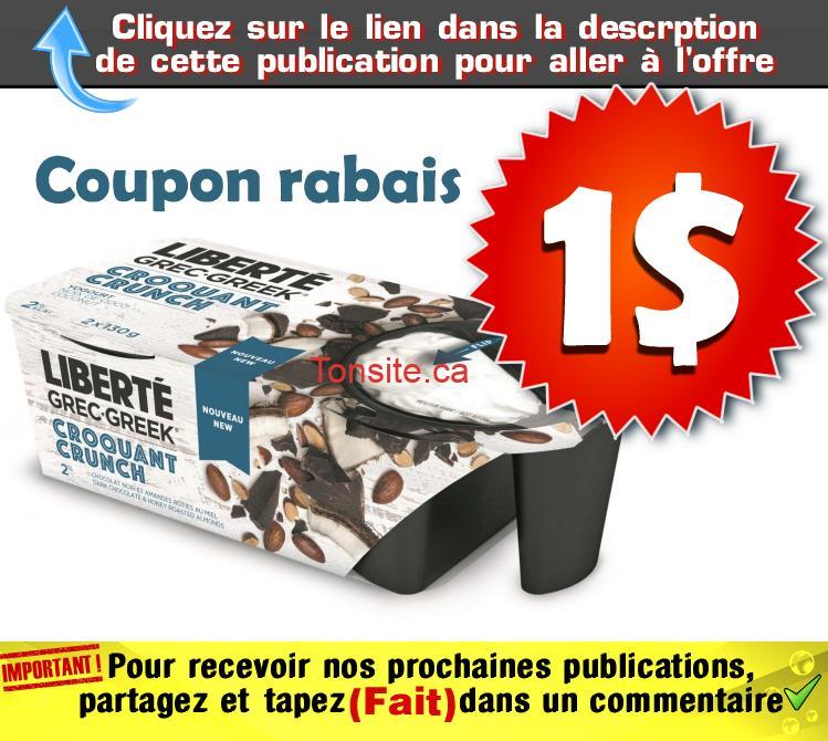 liberte croquant coupon 1 - Coupon rabais de 1$ sur un emballage de Liberté Grec Croquant (2x130)