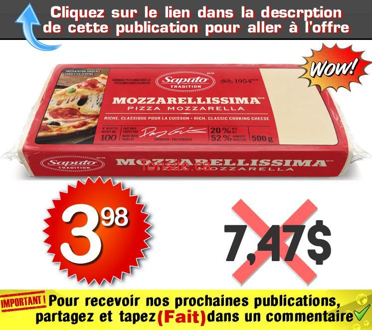 mozza 398 747 - Barre de fromage Mozzarellissima Saputo (500 g) à 3,98$ au lieu de 7,47$