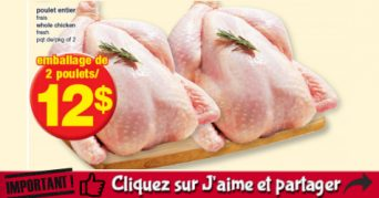 Emballage de 2 poulets entiers à 12$ seulement!