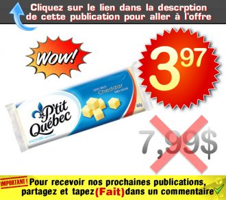 ptitqc 397 799 - Barres de fromage kraft P'tit Québec 3.97$ au lieu de 7,99$