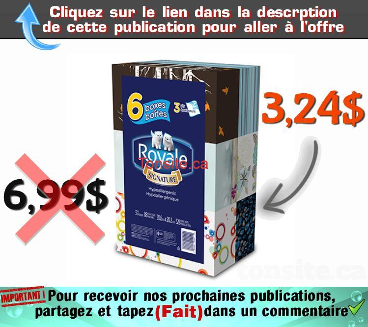 royale mouchoirs 324 699 - Emballage de 6 boîtes de papier mouchoirs Royale à 3,24$ au lieu de 6,99$