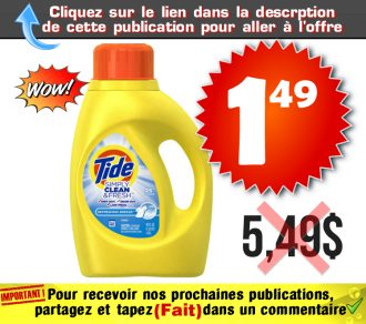 simply 149 549 - Détergent à lessive Tide Simply Clean (38 brassées) à 1,49$ au lieu de 5,49$