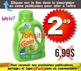GAIN 249 699 - Détergent à lessive, assouplissant textile Gain à 2,49$ au lieu de 6,99$