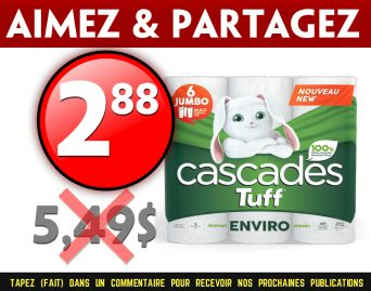 cascades tuff 288 549 - Emballage de 6 rouleaux Jumbo de papier essuie-tout Cascades Tuff à 2,88$ au lieu de 5,49$