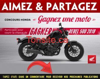 honda moto 2018 - Participez pour gagner une motocyclette Honda Rebel 500 2018