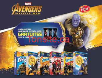 post chaussettes 1 - Céréales Post: Obtenez des chaussettes Avengers Infinity War gratuites