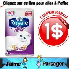 royale velour coupon 240x240 - Coupon rabais de 1$ sur tout emballage de papier hygiénique Royale Velour
