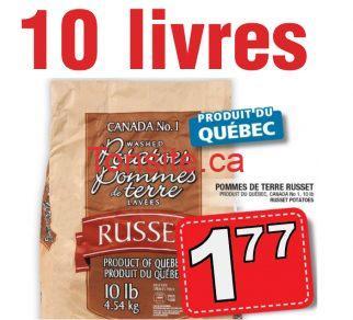 russet 1 77 - Sac de pommes de terre Russet (10 livres) à 1,77$ seulement!