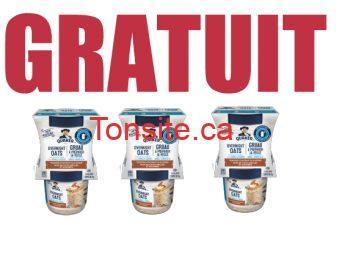 GRUAU FREE - Obtenez une boîte de gruau froid à préparer la veille Quaker GRATUITEMENT!