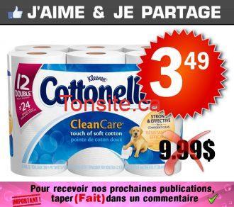 cottonelle349 999 - Emballage de 12 rouleaux doubles de papier hygiénique Cottonelle à 3,49$ au lieu de 9,99$
