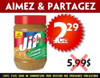jif229 599 - Beurre d'arachide Jif à 2,29$ au lieu de 5,99$