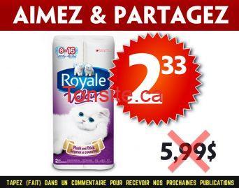 royale velour 233 599 - Emballage de 8 rouleaux de papier hygiénique Royale Velour à 2,33$ au lieu de 5,99$