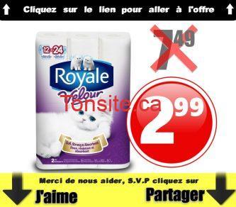 royale velour 299 749 - Emballage de 12 rouleaux de papier hygiénique Royale Velour à 2,99$ au lieu de 7,49$