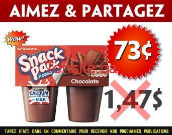 snackpack 73 147 - Pouding Snack Pack (4×99 g) à 73¢ au lieu de 1,47$