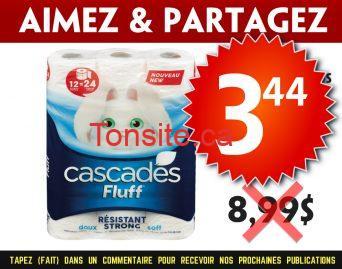 cascades 344 899 - Emballage de 12 rouleaux doubles de papier hygiénique Cascades Fluff à 3,44$ au lieu de 8,99$