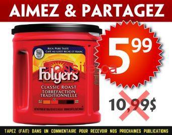 folgers 599 1099 - Café moulu Folgers à 5,99$ au lieu de 10,99$