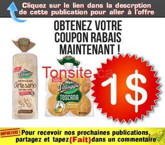 villaggio coupon jpg - Coupon rabais de 1$ sur un emballage de petits pains Toscana ou de pain Artesano Villaggio