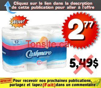 cashmere 277 549 - Emballage de 6 rouleaux double de papier hygiénique Cashmere à 2,77$ au lieu de 5,49$