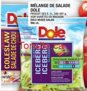 dole salade - Salade de chou ou Iceberg classique Dole à 1$ seulement