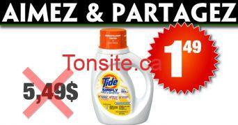 tide s 149 - Détergent à lessive Tide simply + Oxy à 1,49$ au lieu de 5,49$
