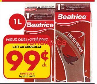 beatrice lait choco - Lait au chocolat Béatrice (1L) à 99¢ au lieu de 3,09$.