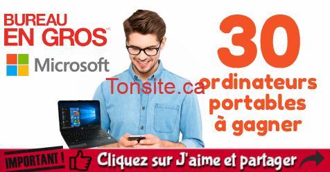 bureau en gros concours - Concours Bureau en gros et Microsoft: Gagnez 1 des 30 ordinateurs portables Windows