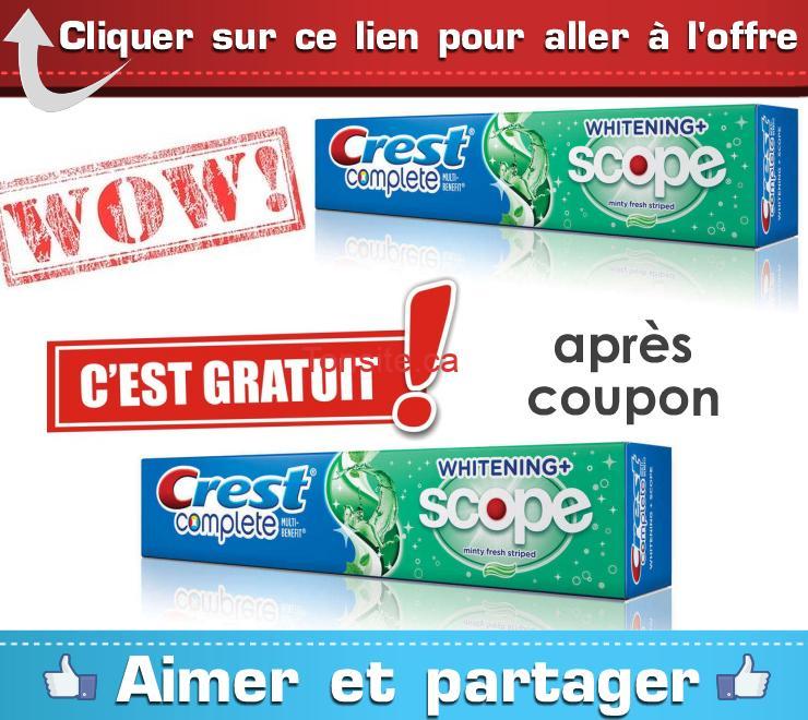 crest gratuit2018 - Obtenez deux dentifrices Crest GRATUITEMENT!!