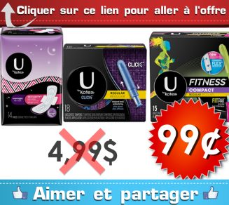 ubykotex 99 499 - Emballage de serviettes hygiéniques ou tampons U by Kotex à 99¢ au lieu de 4,99$