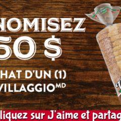 villaggio coupon150 240x240 - Coupon rabais de 1,50$ sur un pain Villaggio