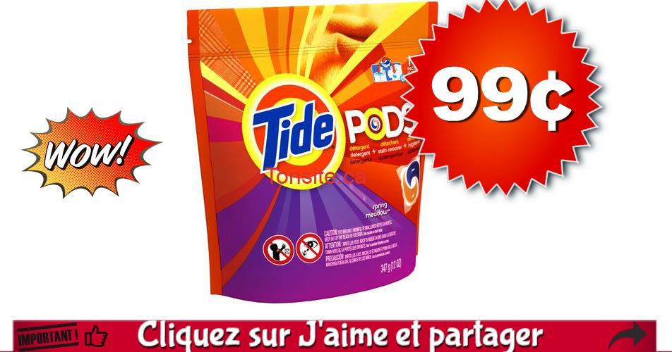 TIDE PODS 99 699 OFF - Paquet de 13 capsules Tide Pods à 99¢ au lieu de 6,99$