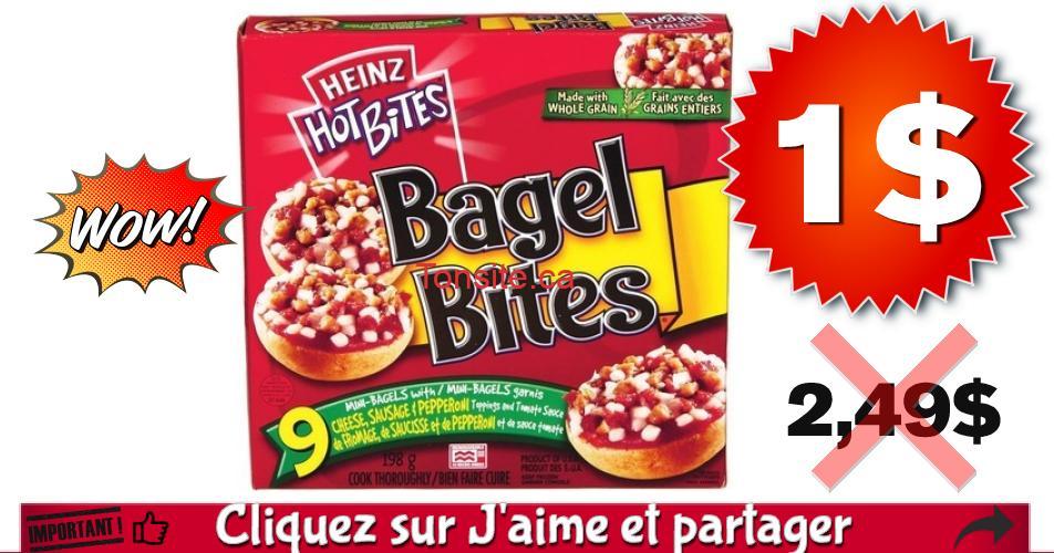 bagel bits 1 249 - Bagel Bites Heinz ( emballage de 9 mini-pizzas ) à 1$ seulement!