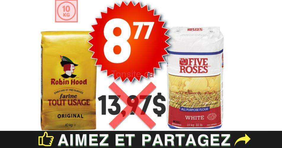 five roses robin hood 877 1397 1 - Farine tout usage Five Roses ou Robin Hood (10 kg) à 8,77$ au lieu de 13,97$