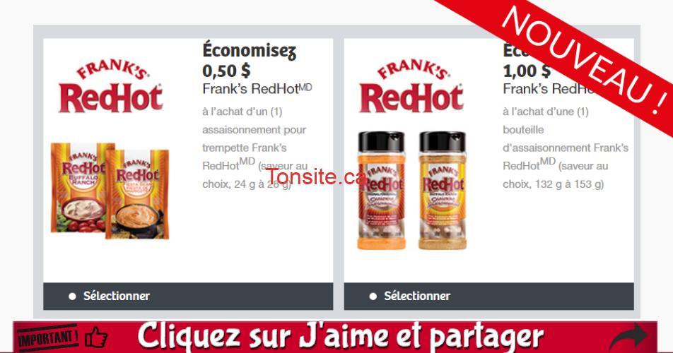 franks redhot coupons - Coupons rabais sur les assaisonnements Frank's RedHot