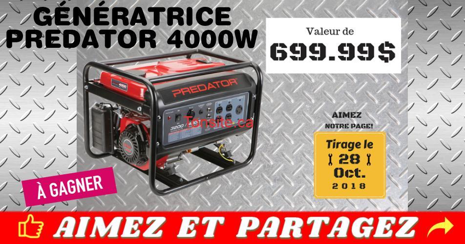 generatrice concours - Gagnez une génératrice Prédator 4000W